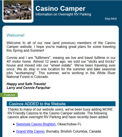 Casino Camper News