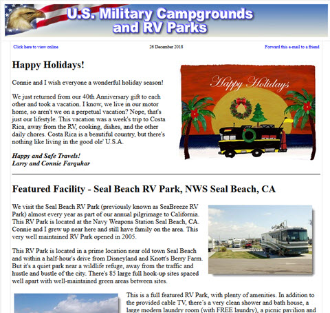 U.S. Military Campgrounds News
